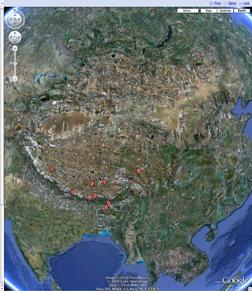 GoogleEarth Asian Rivers from Tibetan Plateau